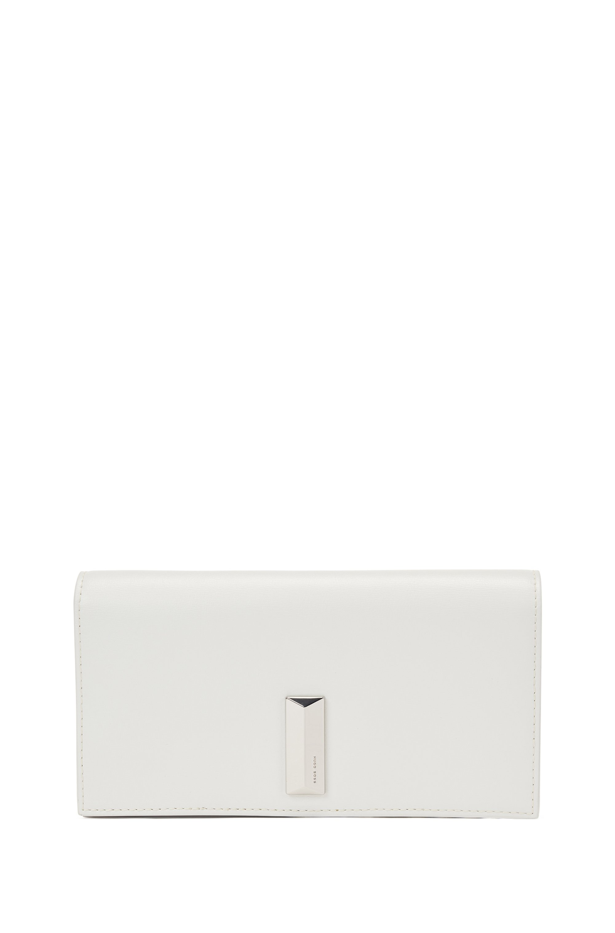 Mini bag in leather with pyramid-shaped hardware, White