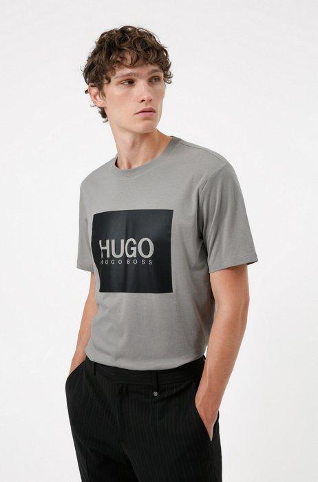 T-shirt en jersey de coton avec grand logo imprimé, Argent