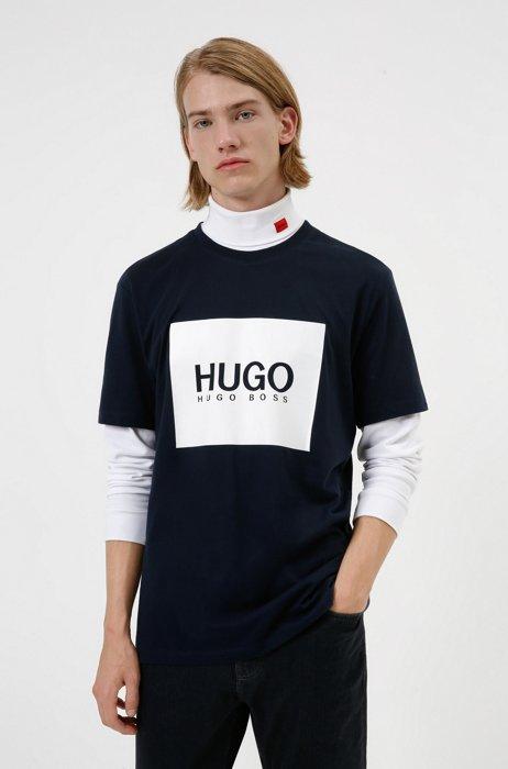 Logo-box-print T-shirt in cotton jersey, Dark Blue