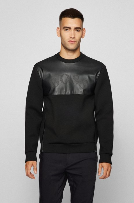 Logo sweatshirt in relaxed fit with faux-leather panel, Black