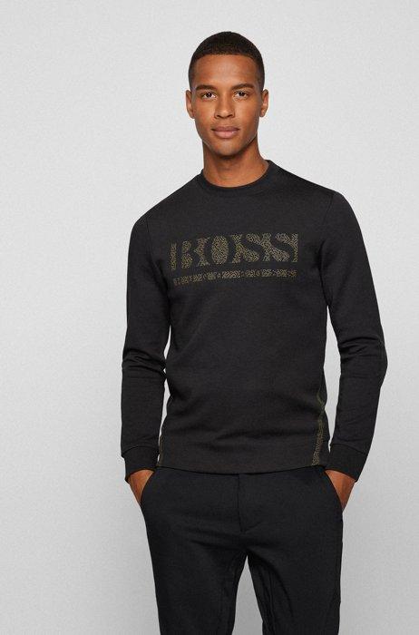 Slim-fit crew-neck sweatshirt with pixellated logo, Black