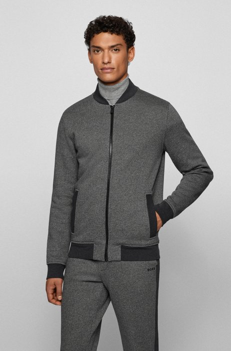 Relaxed-fit zip-up jacket with herringbone pattern, Black