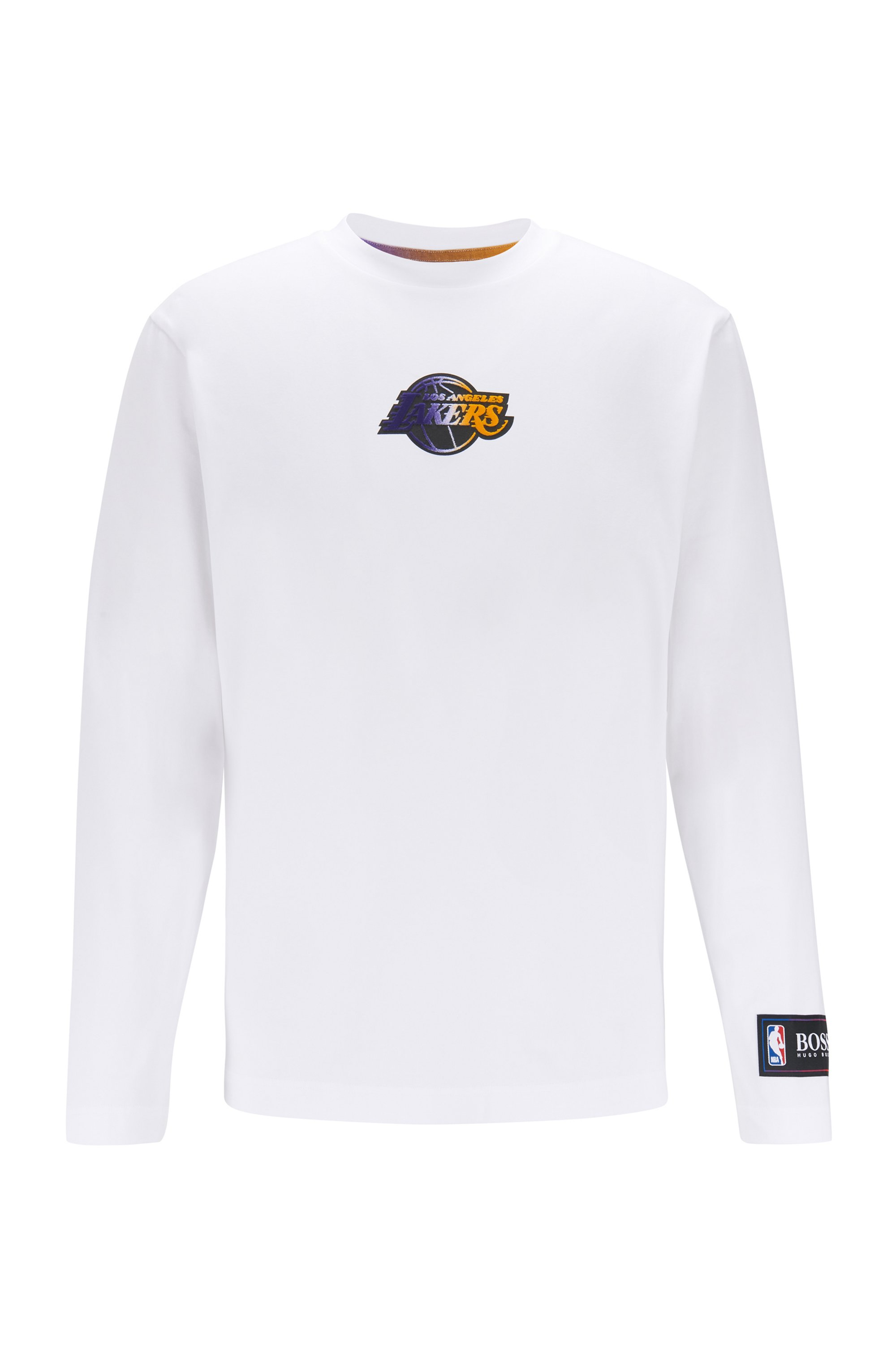 Long-sleeved T-shirt from BOSS x NBA with team logo, White