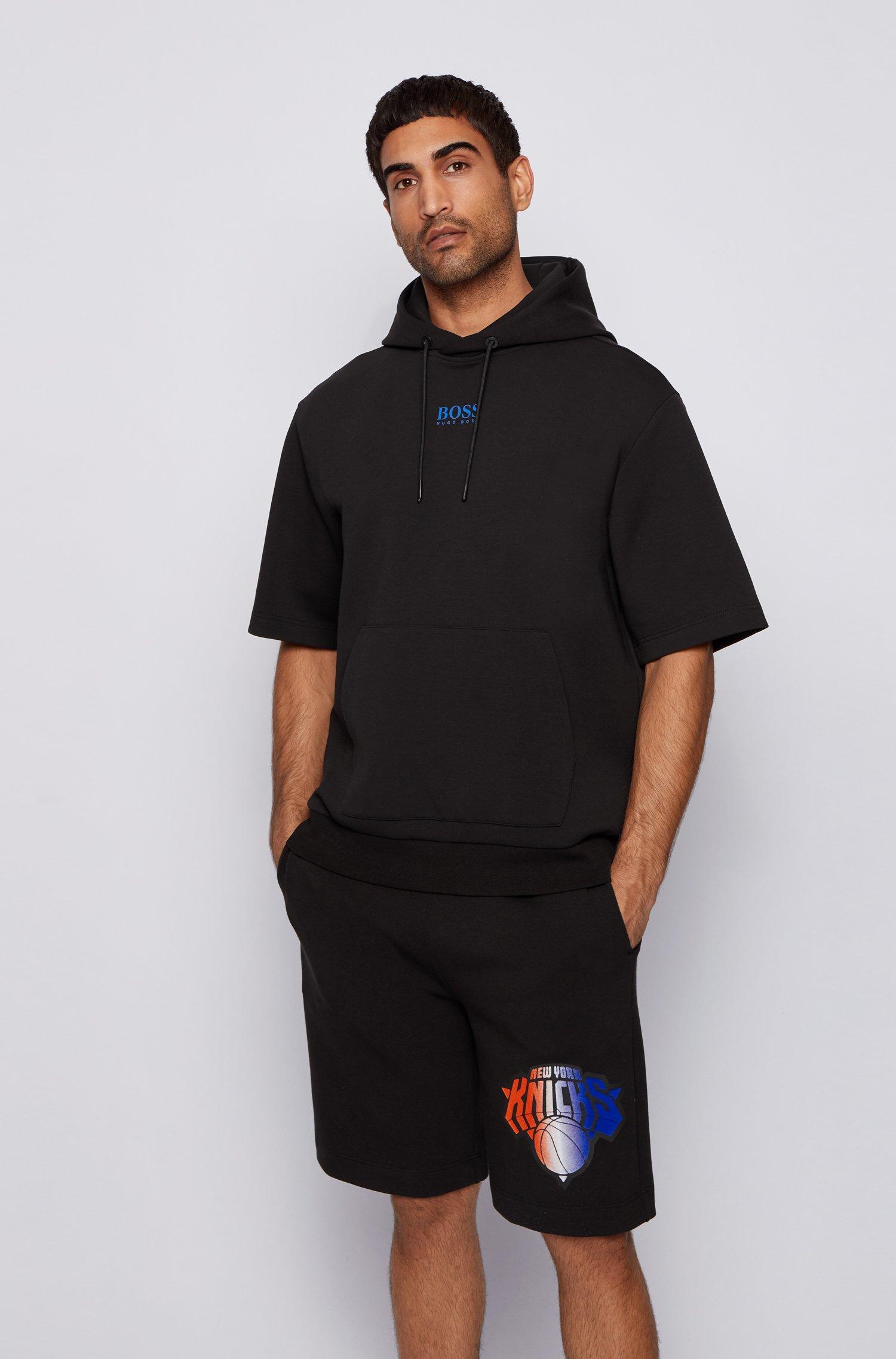 BOSS x NBA short-sleeved hoodie with team logo, Black