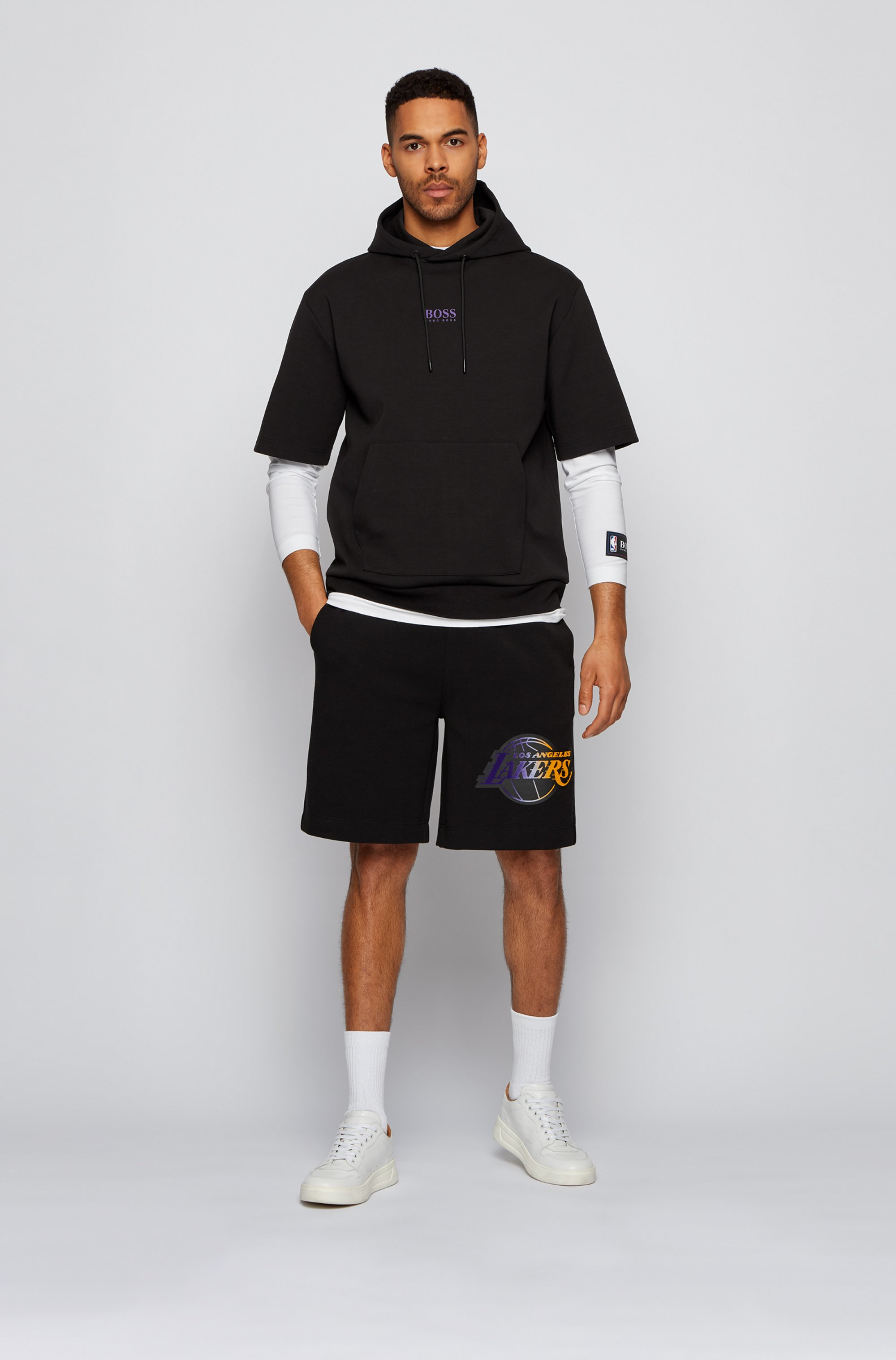 BOSS x NBA short-sleeved hoodie with team logo