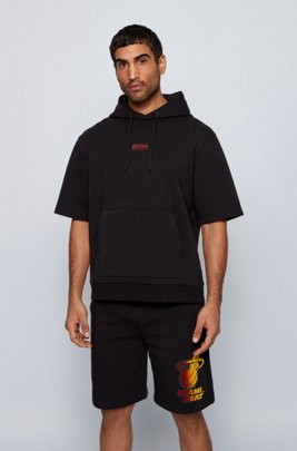BOSS x NBA short-sleeved hoodie with team logo, Black