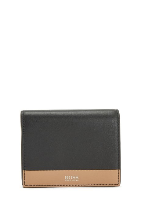 Color-block nappa leather billfold with logo, Black