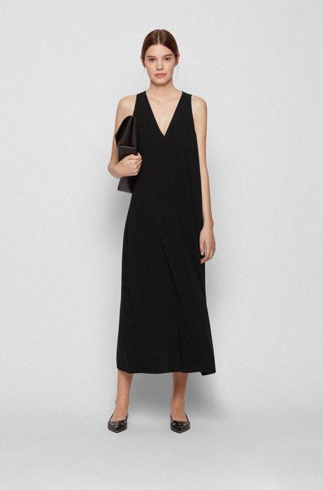 A-line crepe maxi dress with deep V neckline, Black