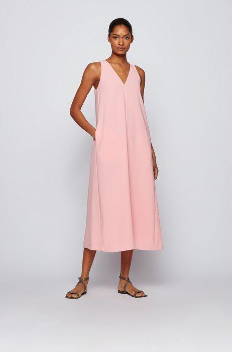 A-line crepe maxi dress with deep V neckline, Pink