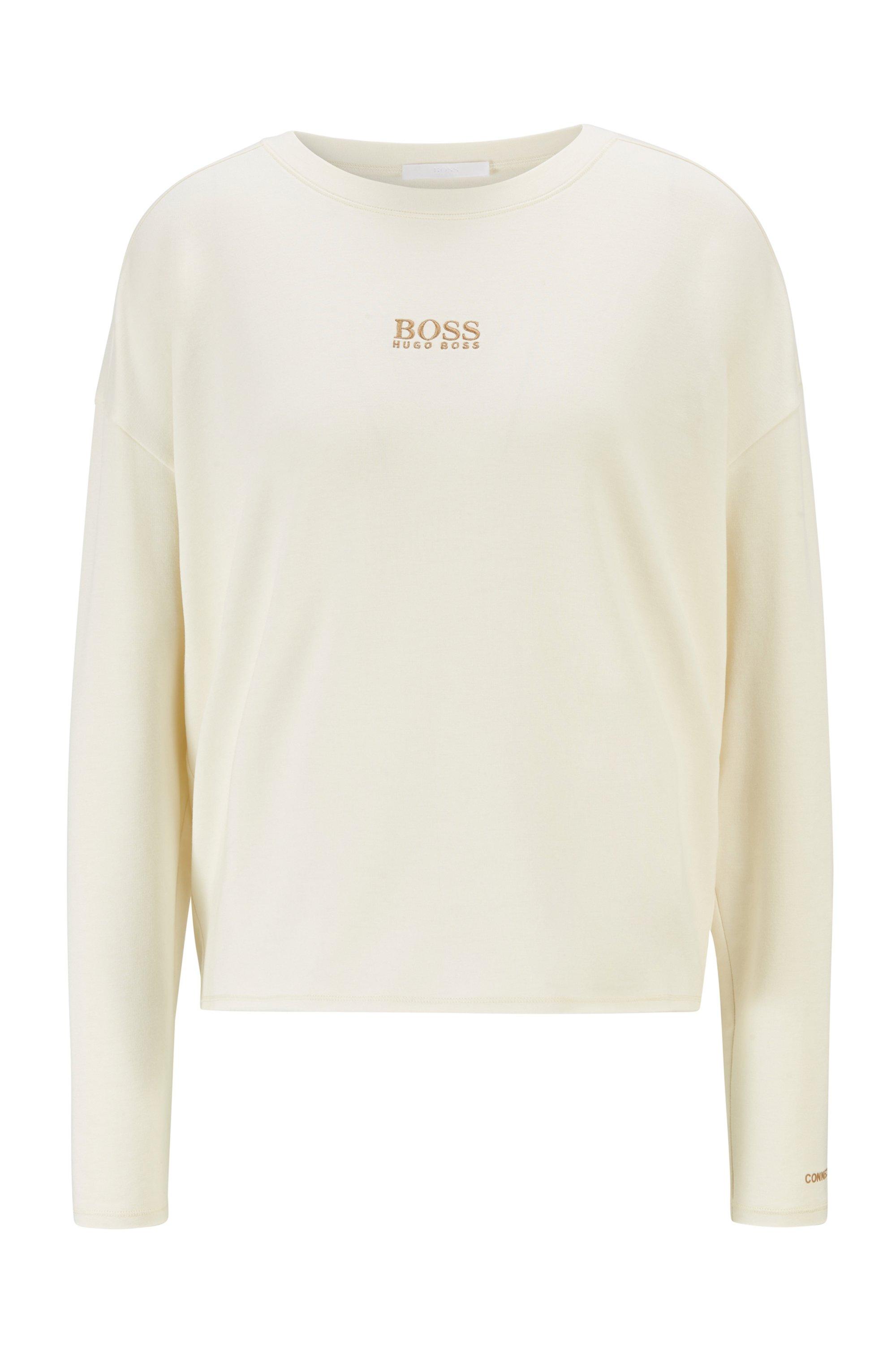 Sweat Relaxed Fit en molleton léger avec logo, Blanc