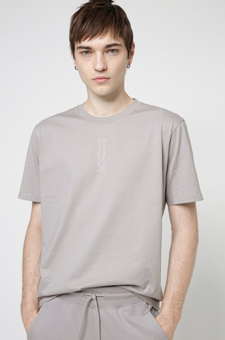 Cropped-logo T-shirt in organic cotton, Silver
