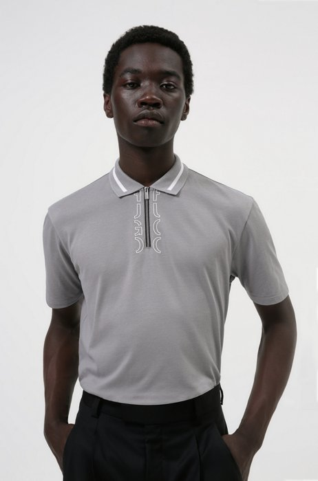 Zip-neck cotton polo shirt with cropped-logo placket, Silver