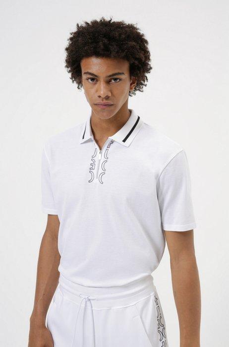 Zip-neck cotton polo shirt with cropped-logo placket, White