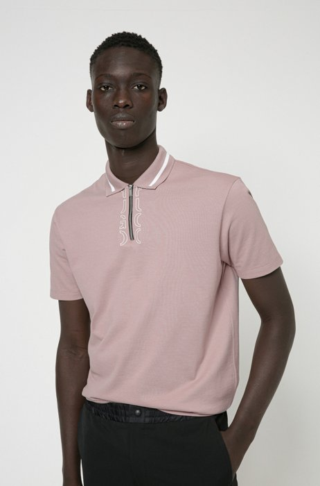 Zip-neck cotton polo shirt with cropped-logo placket, Light Brown