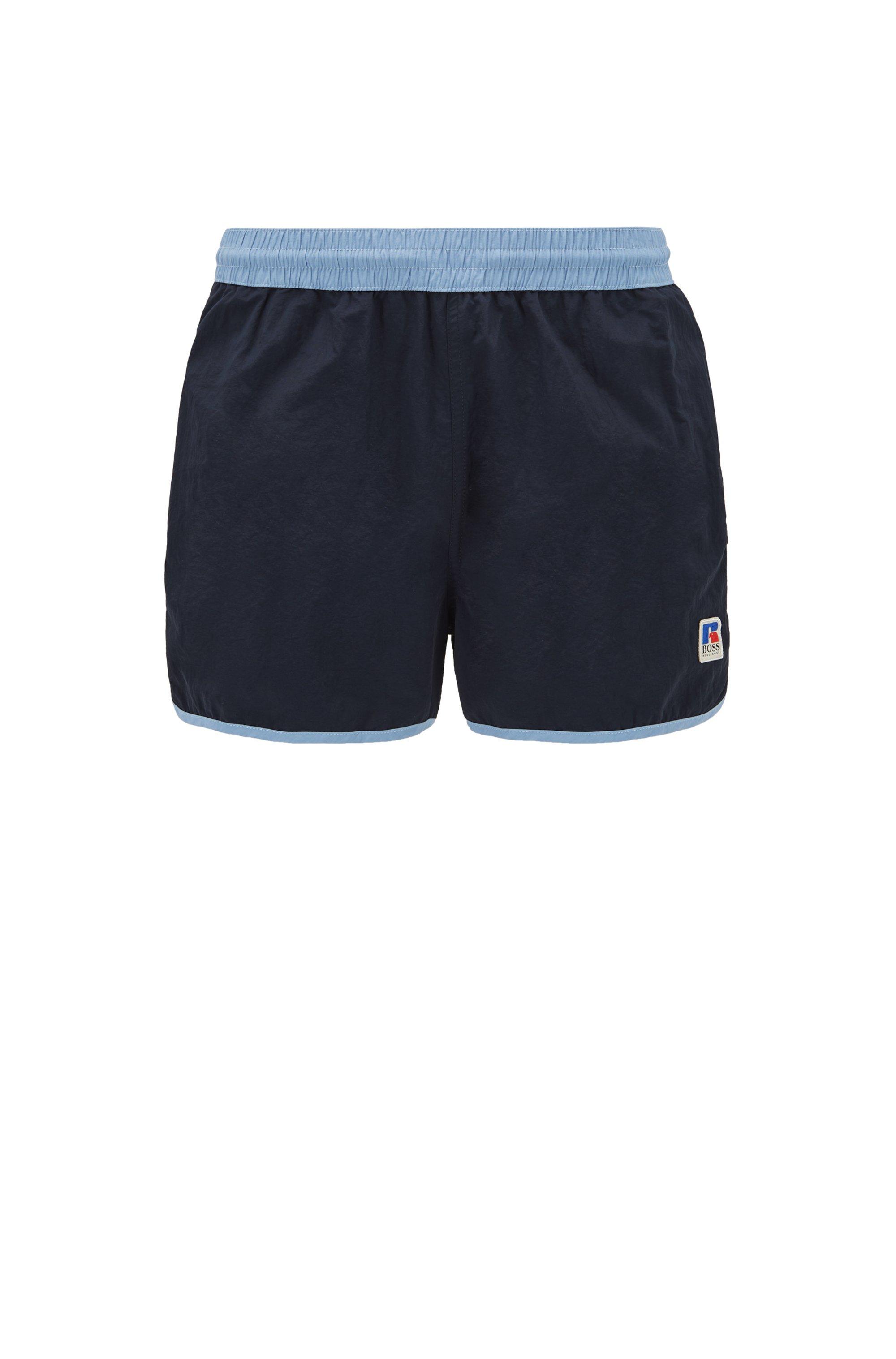 Quick-dry short-length swim shorts with exclusive logo, Dark Blue