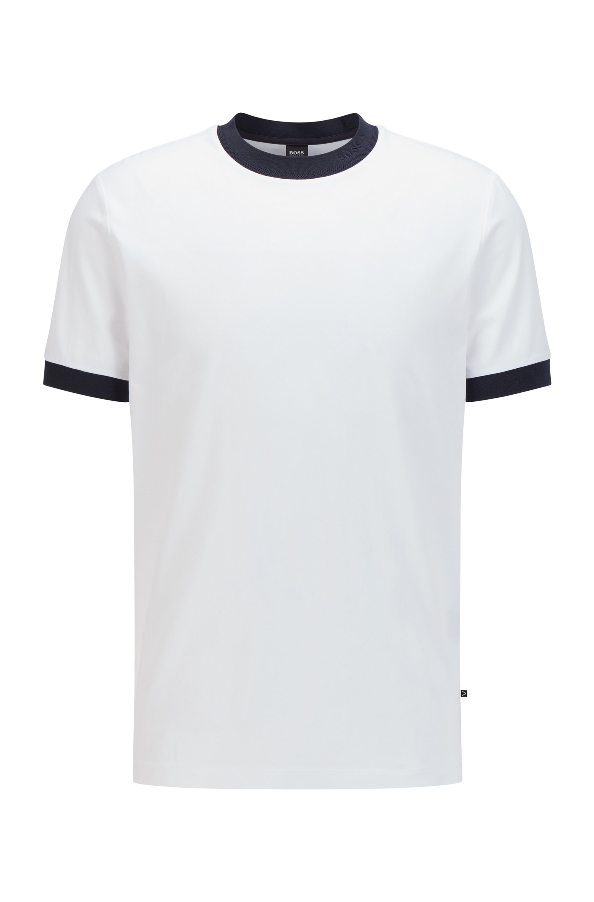 Regular-fit T-shirt in moisture-wicking stretch cotton, White