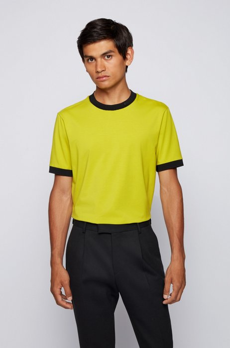 Regular-fit T-shirt in moisture-wicking stretch cotton, Green