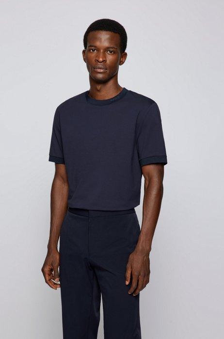 Regular-fit T-shirt in moisture-wicking stretch cotton, Dark Blue