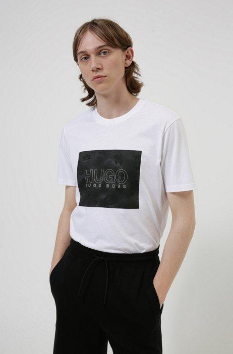 Cotton-jersey T-shirt with snake-print logo, White