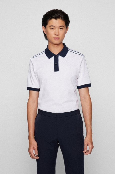 Regular-fit polo shirt in moisture-wicking cotton piqué, White