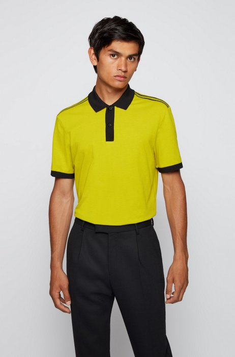 Regular-fit polo shirt in moisture-wicking cotton piqué, Green
