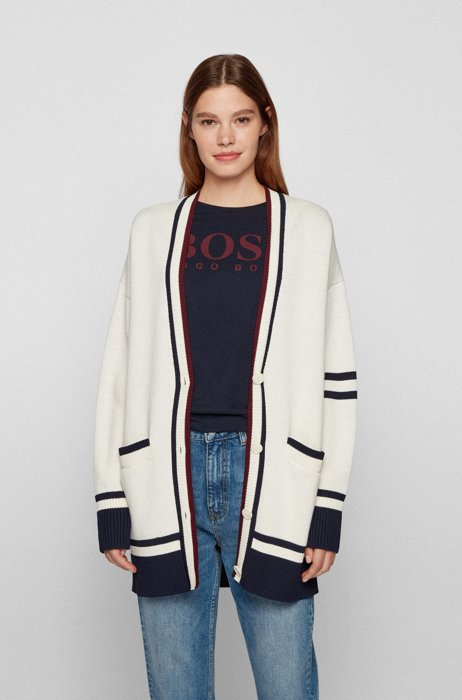 Relaxed-fit cardigan with stripes and logo, White