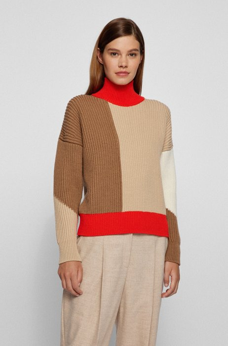Relaxed-fit virgin-wool sweater with color-block intarsia, Patterned