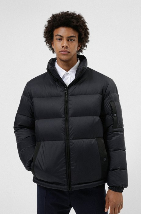 Manifesto-logo quilted down jacket in recycled fabric, Black