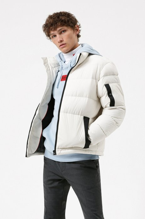 Manifesto-logo quilted down jacket in recycled fabric, White