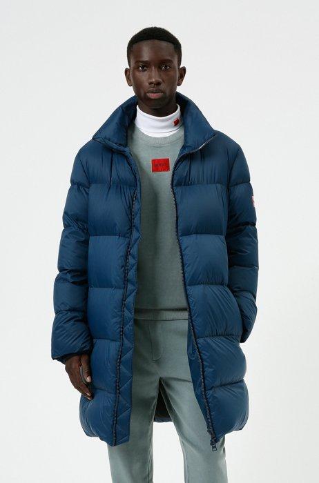 Regular-fit down coat with red logo label, Dark Blue