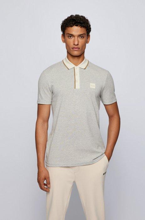 Silicone-badge polo shirt in two-tone cotton piqué, White