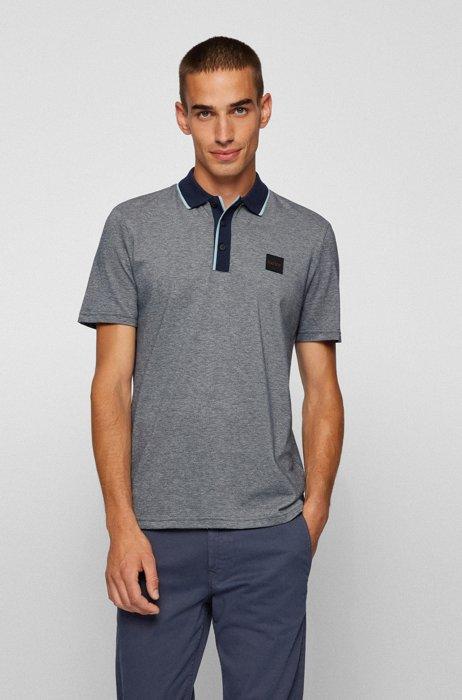 Silicone-badge polo shirt in two-tone cotton piqué, Dark Blue