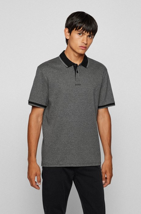 Regular-fit polo shirt in houndstooth cotton jersey, Black