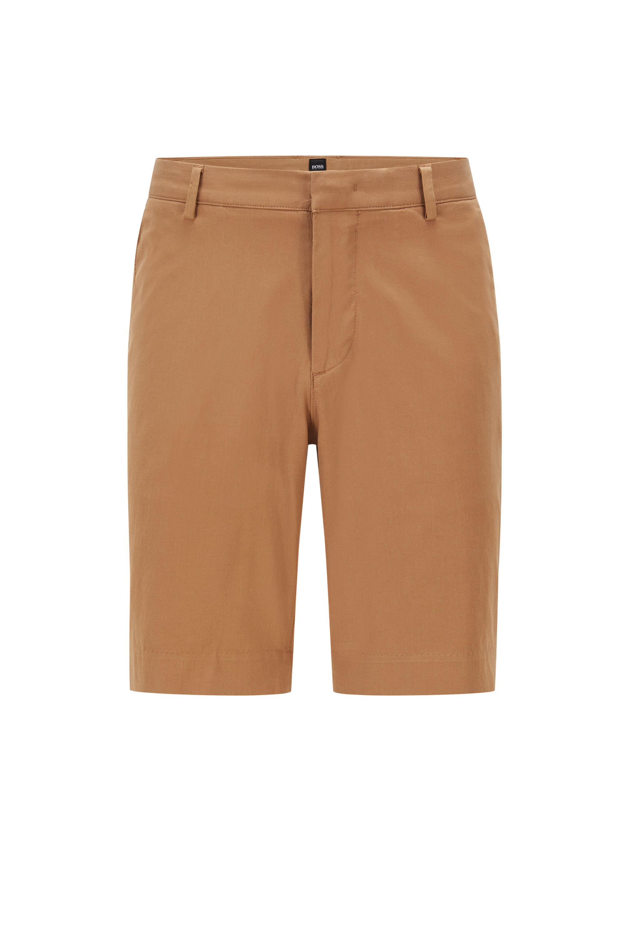 Slim-fit shorts in stretch fabric with zip pocket, Beige