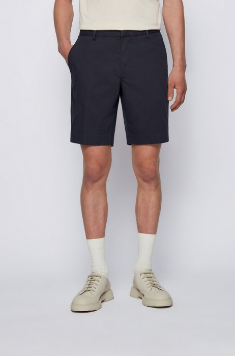 Slim-fit shorts in stretch fabric with zip pocket, Dark Blue