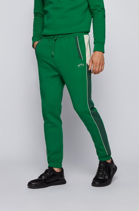 Cotton-blend tracksuit bottoms with color-blocking, Green