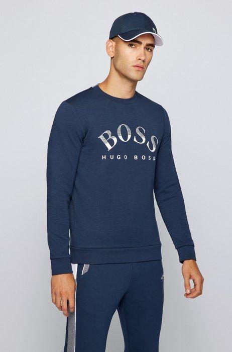 Cotton-blend slim-fit sweatshirt with curved logo, Dark Blue