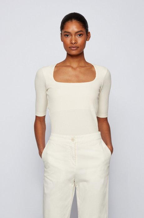 Slim-fit top in ribbed stretch jersey, White
