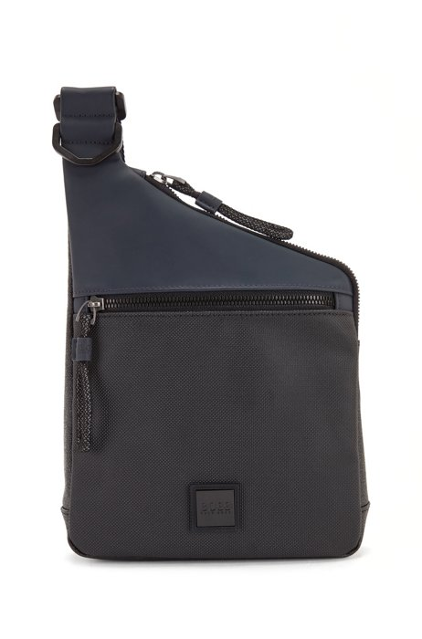Mixed-material reporter bag with logo badge, Black