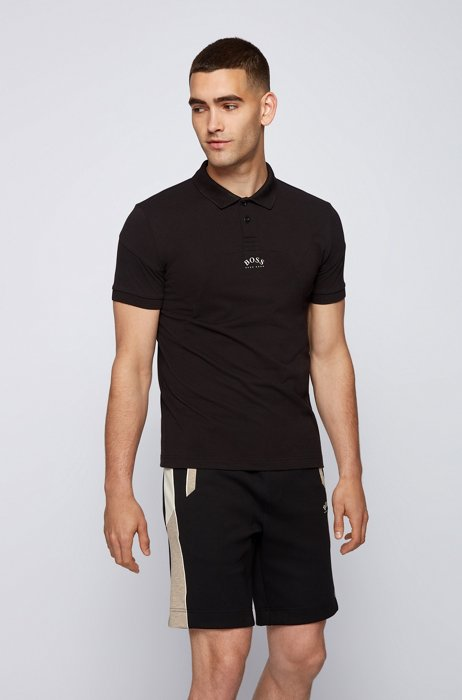 Cotton-piqué slim-fit polo shirt with curved logo, Black