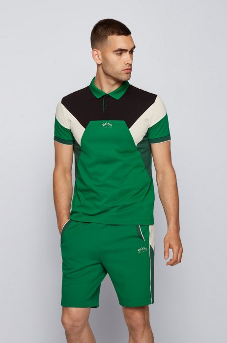 Cotton-piqué slim-fit polo shirt with curved logo, Green