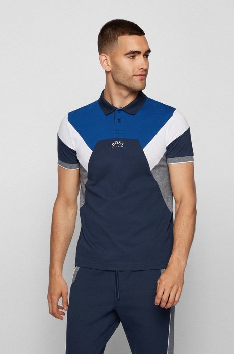 Cotton-piqué slim-fit polo shirt with curved logo, Dark Blue