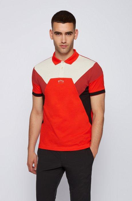Cotton-piqué slim-fit polo shirt with curved logo, Orange