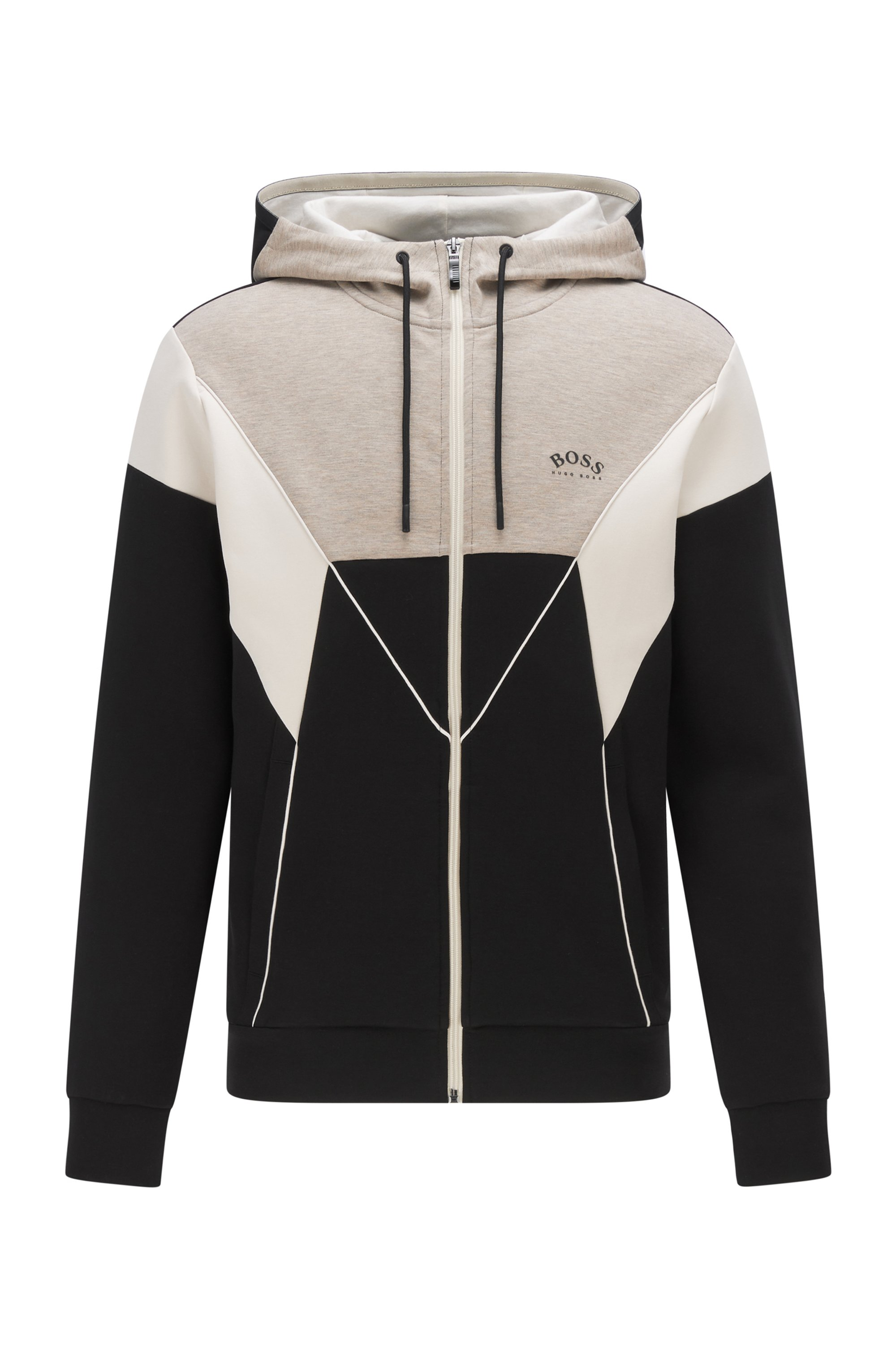 Color-blocked hooded sweatshirt in a cotton blend, Black