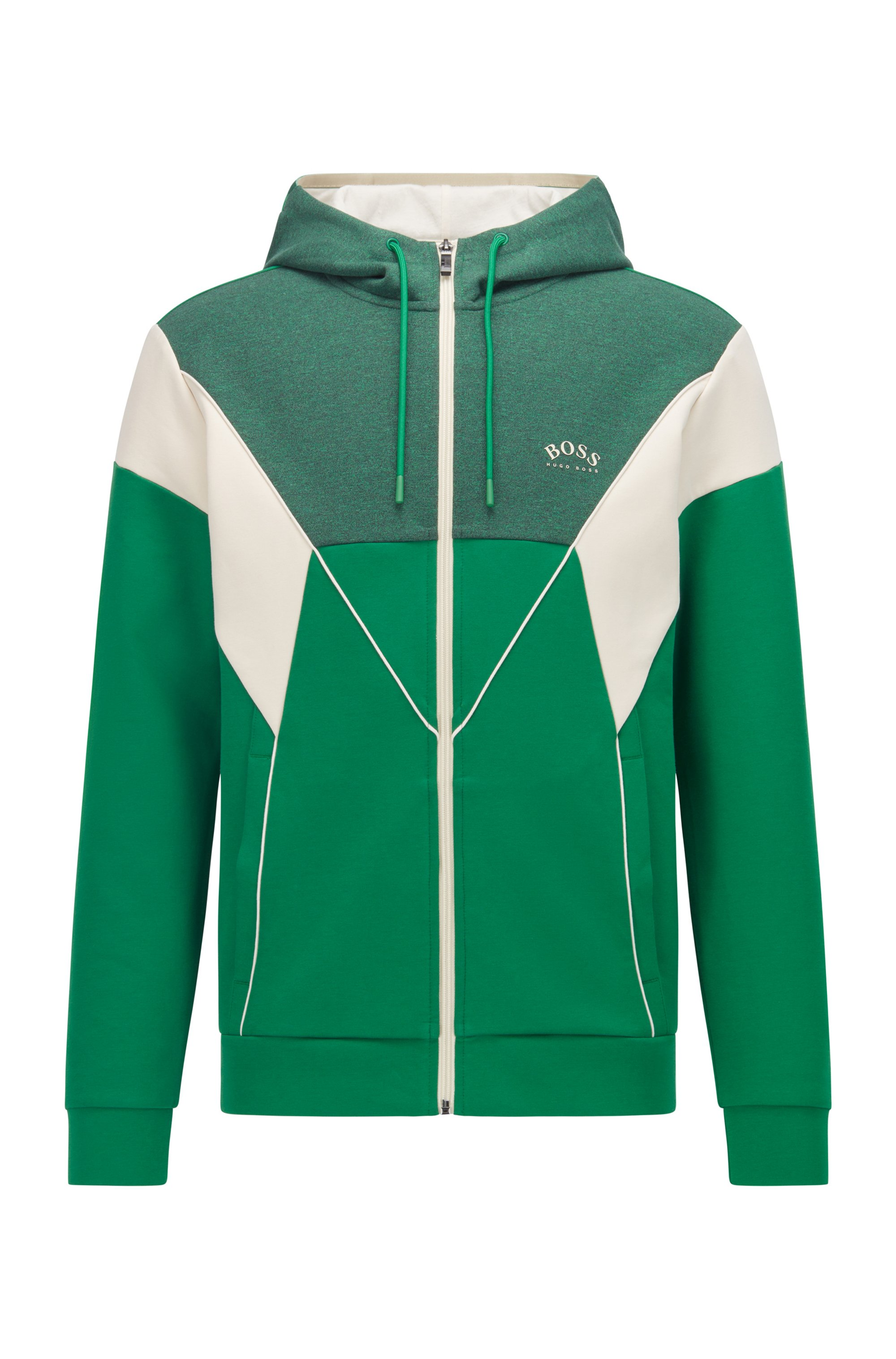 Color-blocked hooded sweatshirt in a cotton blend, Green