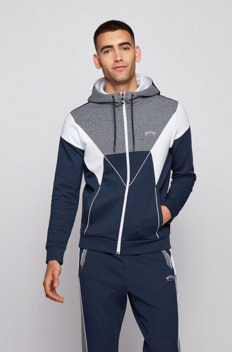 Color-blocked hooded sweatshirt in a cotton blend, Dark Blue
