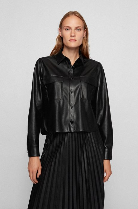 Cropped regular-fit shirt in faux leather, Black