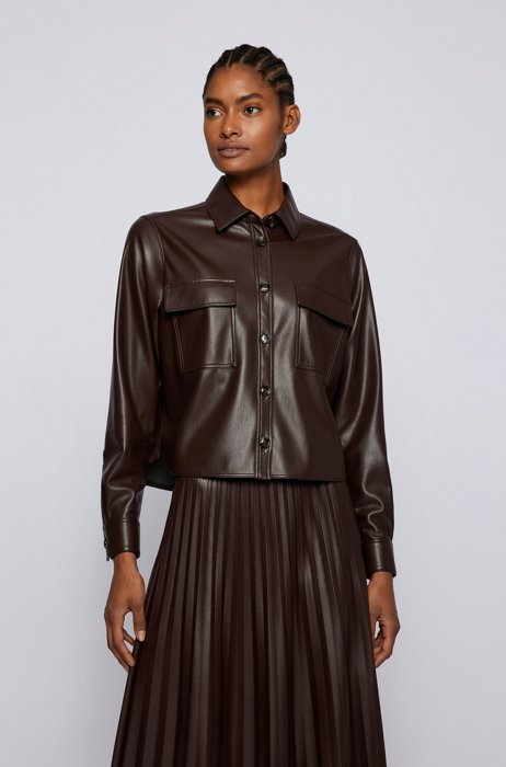 Cropped regular-fit shirt in faux leather, Dark Brown