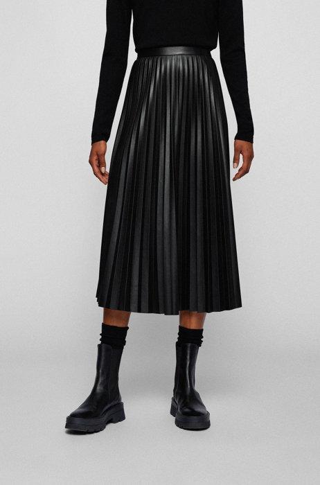 Midi skirt in faux leather with plissé pleats, Black