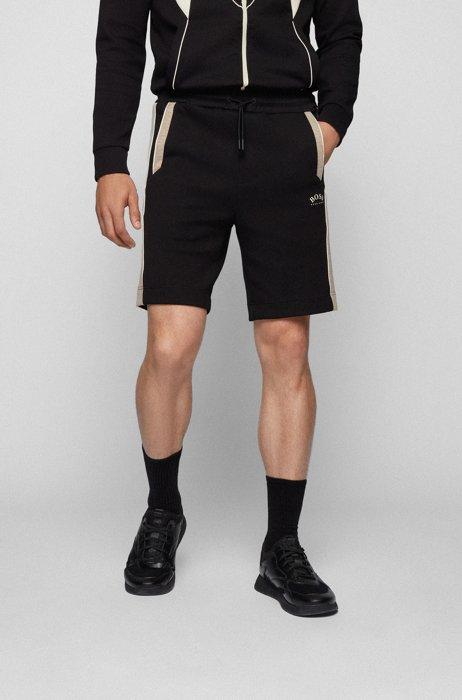 Cotton-blend regular-fit shorts with color-blocking, Black